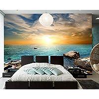 xueshao 日の出と日没の海岸石の空の自然の壁紙、リビングルームのソファテレビの壁の寝室の壁の紙の家の装飾-400X280Cm