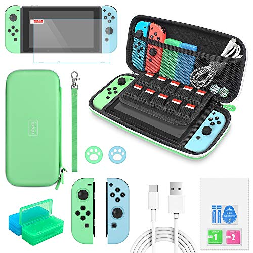 Switch Accessories Bundle - 12 in 1 Accessories Kit for Nintendo Switch Animal Crossing with Carrying Case, Silicone Joy Con Covers, Screen Protector, Thumb Grip Caps, Game Card Cases and Type-C Cable