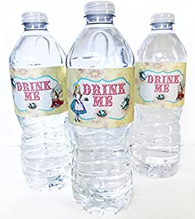 POP parties Alice in Wonderland Bottle Wraps - 20 Alice Water Bottle Labels - Made in The USA