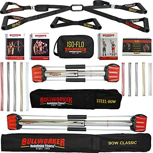 Bullworker Power Pack – Cross Training Portable Home Gym per Total Body Fitness (Bow Classic, arco in acciaio, ISO-FLO)