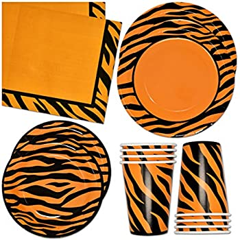 Tiger Stripe Party Supplies Tableware Set 24 9  Plates 24 7  Plate 24 9 Oz Cups 50 Lunch Napkins for Tigers Animal Print Jungle Safari Forest Wild Zoo Pals Baby Shower Birthday Disposable Paper Goods