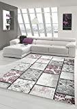 Alfombra Alfombra Moderna Alfombra de Sala de Estar Patchwork patrón de Cuadros moteados Vintage en púrpura Crema Gris Rosa negro120x170 cm120x170 cm