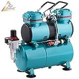 KIT AERÓGRAFIA PROFESIONAL de dos cilindros'Duo-Power II' para PISTOLA AIRBRUSH y COLORES AEROGRAFO El dispositivo profesional para cada airbrush Set AERÓGRAFO COMPRESOR