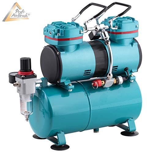 AirBrush Kompressor Duo-Power II - Das Airbrush-Kit mit Doppel/Zweizylinder Kompressor Kit für Künstler mit Anspruch, Grundausstattung für jedes Airbrush Set