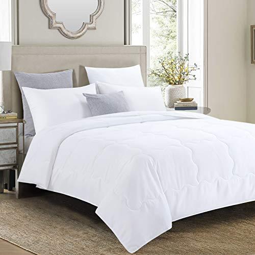 "HOMBYS Lightweight King Size Microfiber Down Alternative Blanket Comforter Quilted Duvet Insert with 8 Corner Tabs, White 90"" x 108"" (King, White Wavy Box)"