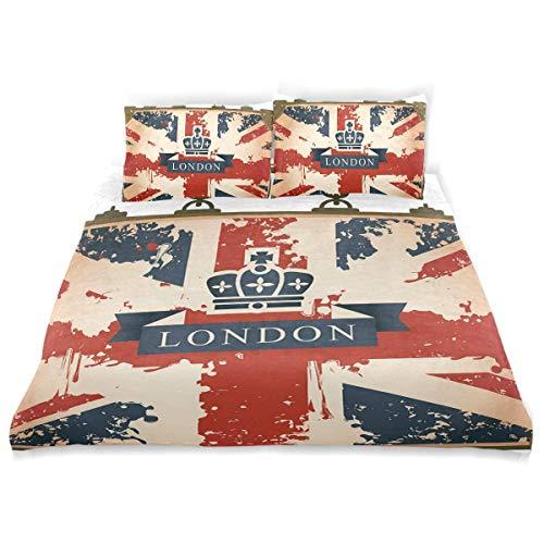 Maleta de Viaje Vintage con Imagen de Corona y Cinta de la Bandera británica de Londres,Juego de Ropa de Cama con Funda nórdica de Microfibra y 2 Funda de Almohada - 200 x 200 cm