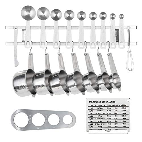 Stainless Steel Measuring Cups and Spoons with Magnetic Hanging Rack Kit 22 Pcs
