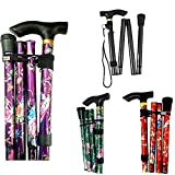 PLASTIFIC Walking Stick, Easy Adjustable Height Folding Extendable Walking Cane, Lightweight Flexible Walking Aid Mobility Aid (A-Purple Floral)