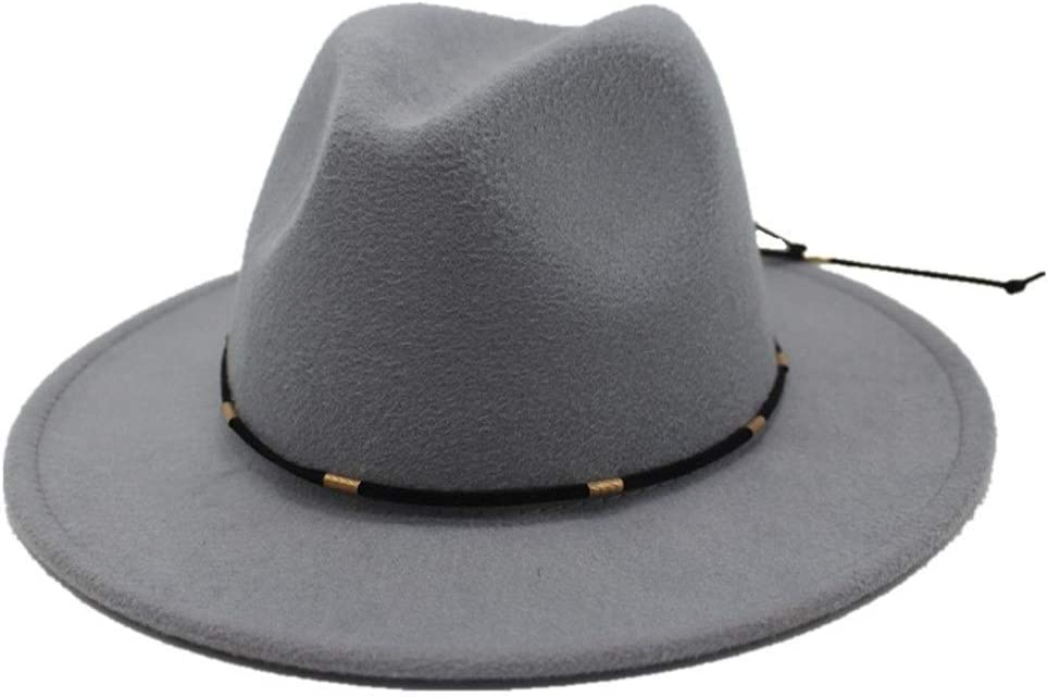 No-branded Men Women Wool Fedora Hat Outdoor Travel Church Casual Wild Hat Fascinator Trilby Hat Size 56-58CM ZRZZUS (Color : Light Gray, Size : 56-58)