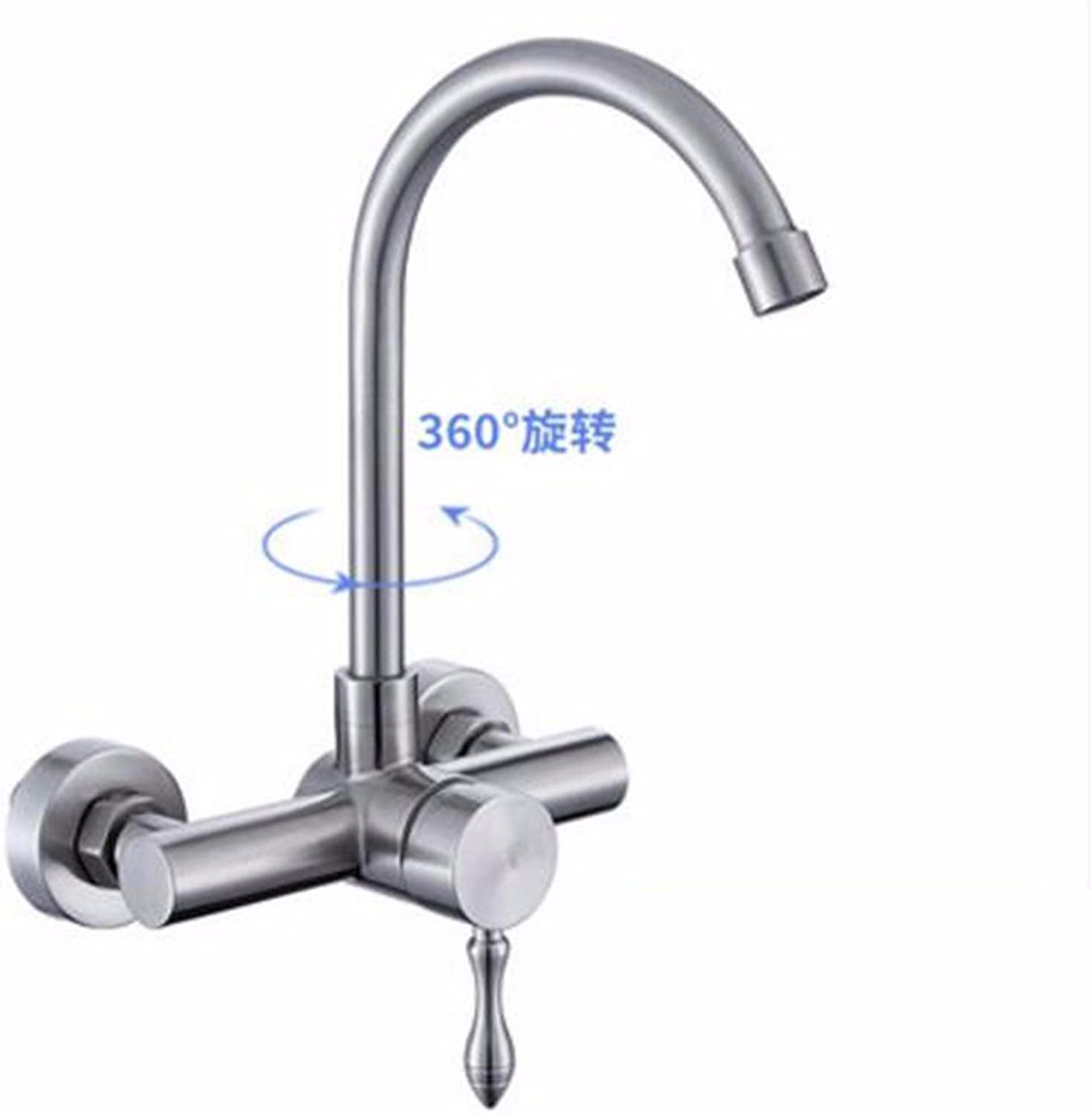 SJQKA 304 stainless steel kitchen sink mop pool balcony laundry pool double hole in-wall hot and cold faucets, D
