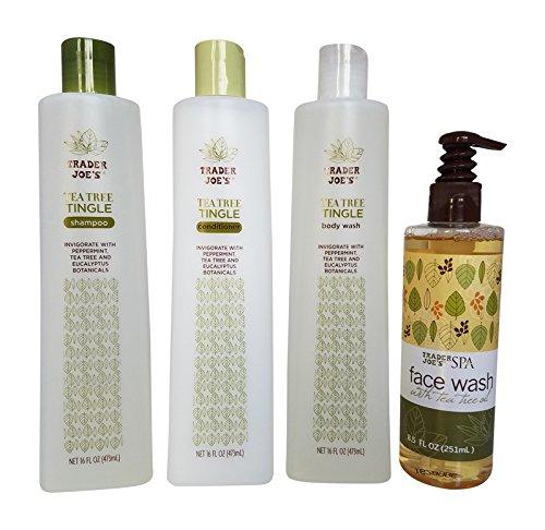 Trader Joe's Tea Tree Tingle Shower Bundle, Shampoo, Conditioner, Body Wash & Face Wash