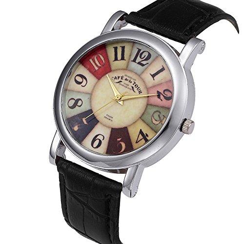 Armbanduhr Damen Ronamick Frauen Retro Digital Dial Lederarmband Quarz Analog Armbanduhr Uhren Armband Armbanduhr Uhr Uhren(BK)