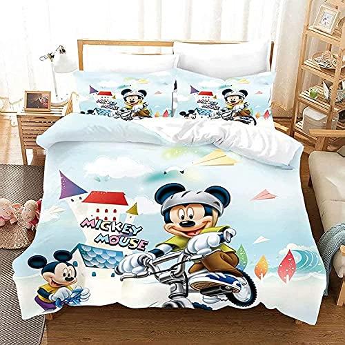 WANGHU Juego de ropa de cama Mickey Mouse, supersuave y cómodo, regalo para niños, sin relleno (A01,135 x 200 cm + 50 x 75 cm x 2)