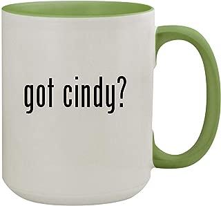 got cindy? - 15oz Ceramic Inner & Handle Colored Coffee Mug, Light Green