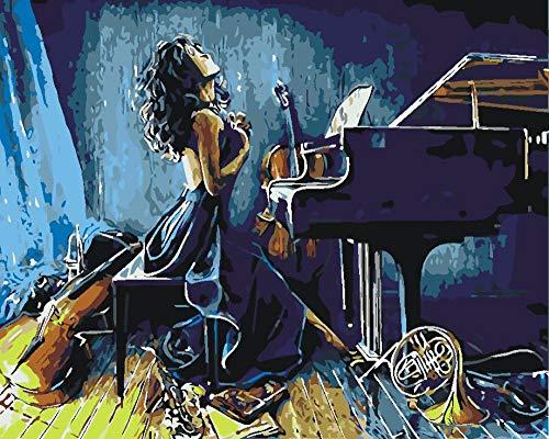 CLYDX DIY Malen Nach Zahlen Klavier Mädchen 40x50cm Ölgemälde Für Kinder Erwachsene Anfänger Leinwanddruck Wandkunst Dekoration (Ohne Rahmen)