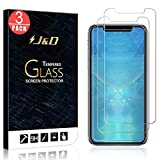 J&D Compatible for iPhone XR 6.1 inch Glass Screen Protector (3-Pack), Not Full Coverage, Tempered Glass HD Clear Ballistic Glass Screen Protector for iPhone XR 6.1 inch Screen Protector