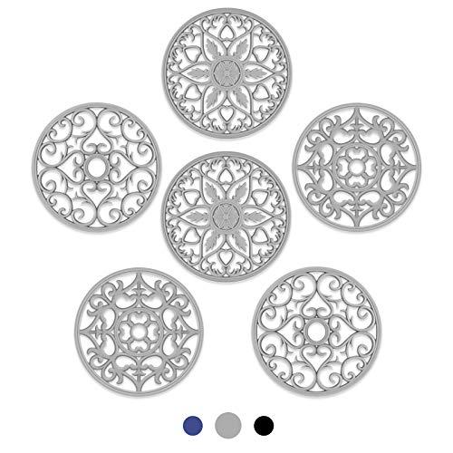 SMARTAKE Juego de 6 alfombrillas de silicona para salvamanteles de cocina multiusos tallados intrincadamente, alfombrillas de cocina duraderas y antideslizantes, flexibles y modernas, para platos calientes, ollas, encimera (gris)
