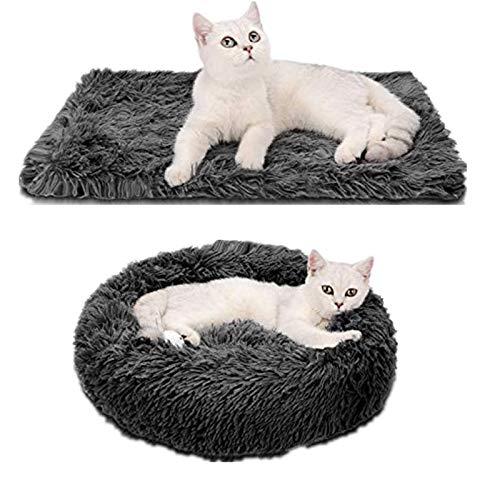 Legendog Cama de Gato Redondo Cama de Felpa para Mascota 2 PCS Camas Cojin Donut + Manta Suave Antiestres Lavables Cama para Perros Gatos Mediano Pequeño 50CM
