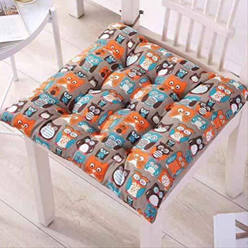 Set di 4 Cuscino per Sedia Pavimento Divano, Cuscini per Sedia in Lino di Cotone Marrone Gufo per Sedie da Giardino E Cucina da Esterno per Giardino, 40X40X5Cm