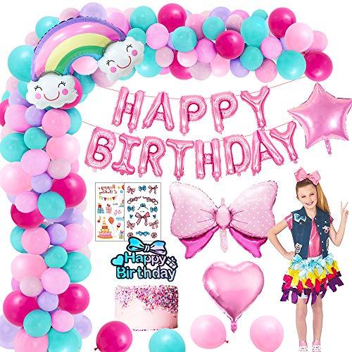 MMTX Geburtstag Dekoration Mädchen, Geburtstagsdeko Luftballons Bogen Regenbogen Himmel Folie Ballon Stern Ballon Bogen Tiara Kinder Tattoo für Dame Mädchen Geburtstags Festival Dekoration