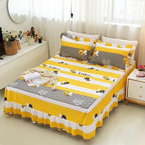 Fyra säsonger Universal tjock bomull quilted säng kjol, singel och dubbel, den bästa gåvan till manliga och kvinnliga vänner, bekvämt sängkläder-Bee surrande_180 * 200cm