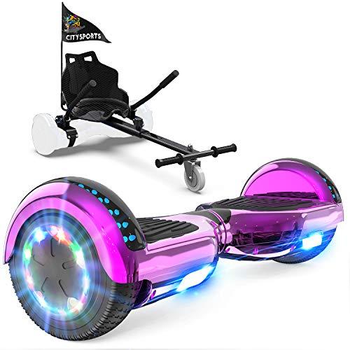GeekMe Patinete Eléctrico Auto Equilibrio con Hoverkart,Hover Scooter Board,Balance Board + Go-Kart 6.5 Pulgadas con Bluetooth,Luces LED, Regalo para Niños, Adolescentes y Adultos