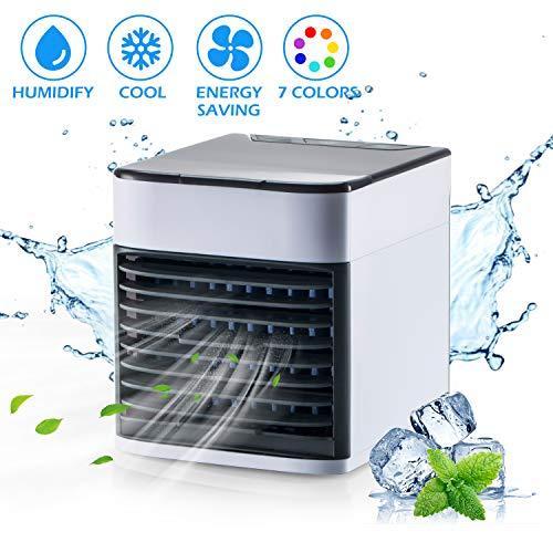 Surhomic Mini Luftkühler, Tragbare USB Luftkühler 3 in 1 Luftbefeuchter Luftreiniger, Air Cooler Mini Mobile Klimaanlage für Office Family, Camping, Küche