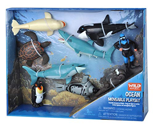 Wild Republic Ocean Moveable Action Playset, Aquatic Animals, Kids Gifts, Shark Toys, 11-Pieces