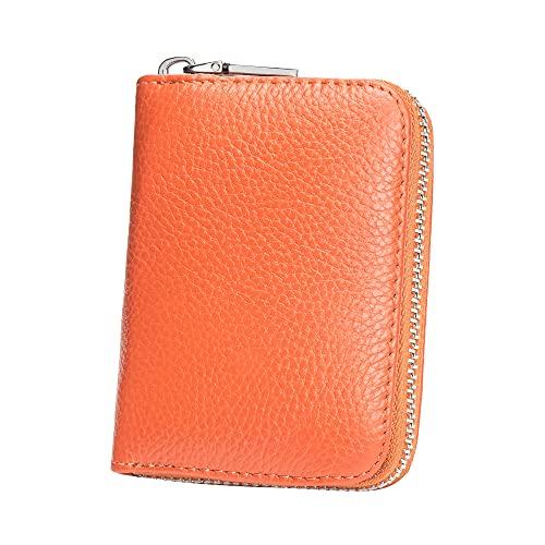 Amazon Brand - HIKARO Cartera para Tarjeta Mujer Hombre Estuche para Tarjeta de crédito RFID Estuche para Tarjeta de Visita Funda de Cuero de la PU Soporte para protección 12 Compartimentos - Naranja