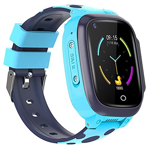 shjjyp Smartwatch NiñOs Sumergible Reloj Inteligente NiñA Ip67 Lbs Hacer Llamada Chat De Voz Sos Modo De Clase Cmara Juegos Regalo para NiñOs De 3-12 AñOs Soporta 4g TarjetáAs Micro Sim,Azul