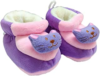 FemmeStopper Baby Boy Baby Girl Cute Mouse Face Baby Shoes (Purple, 6-12 Months)
