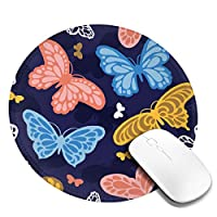 マウスパッド 円形 かわいい オフィス最適 蝶 カラフル 春 上品 背景ゲーミング エレコム 防水性 耐久性 滑り止め 多機能 おしゃれ ズレない 直径20cm