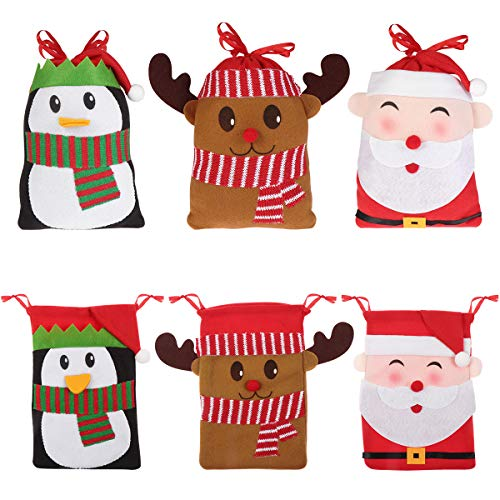 Hemoton 6PCS Large Christmas Candy Bags Gift Treat Bags for Favors and Decorations, Super Cute Santa Claus, Deer, Penguin