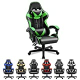 Soontrans Ergonomic Office Chair PC Gaming Chair Racing Chair for Gaming,Computer Chair,E-Sports Chair with High-Back,Adjustable Headrest and Lumbar Support (Jungle Green)