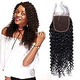 4 * 4 Kinky Curly Lace Frontal Frente de Encaje Rizado con Cierre Closure Extensiones de Cabello Natural Peluca Mujer -50cm, 41g, 1B Negro Natural