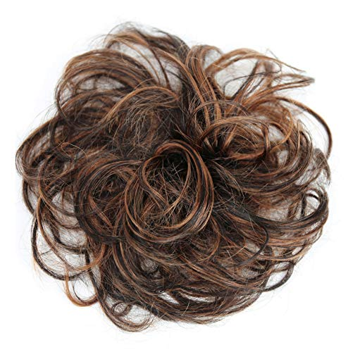 PRETTYSHOP 100% ECHTHAAR Haargummi Haarteil Haarverdichtung Zopf Haarband Haarschmuck Braun Mix H312h