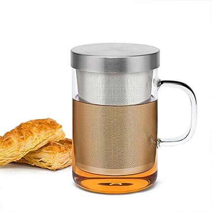 Sama taza de té de cristal de borosilicato de alta calidad con filtro infusor de acero inoxidable, tanto taza para café como para té,, resistente al calor, 500ml, Test LFGB. - Taza para té