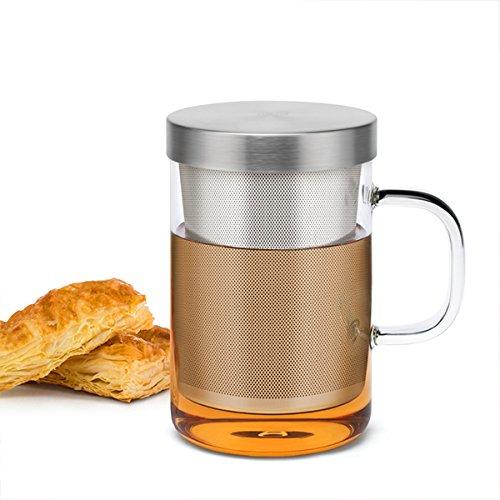 Samadoyo Tea Cup in Vetro borosilicato di Alta qualità con Alimenti SUS # 304 Tazza per tè o caffè tè infusore Filtro, Borsa, Resistente al Calore, 500 ml, LFGB Test …