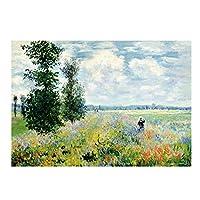 クロードモネのポピーの印象油絵のキャンバスポスターとプリント壁の写真リビングルーム80x120cmフレームレス