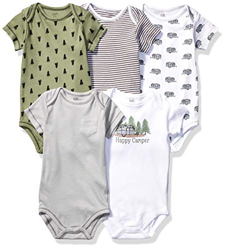 Touched by Nature baby boys Organic Cotton Bodysuits T Shirt Set, Happy Camper, 3-6 Months US