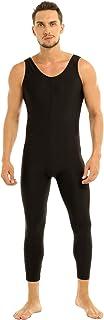 inhzoy Men Well Fit One Piece Scoop Neck Sleeveless Skin-Tight Vest Unitard Leotard Bodysuit Dancewear