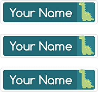 Kids Labels Peel & Stick Waterproof, Durable Personalized Name Labels - 36 Big Labels Dinosaur Design