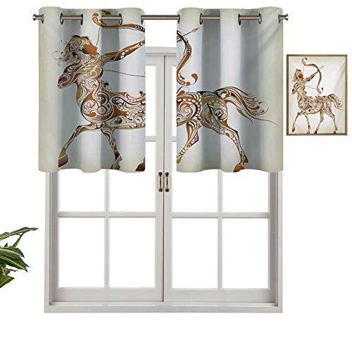 Hiiiman Cortinas opacas con ojales, diseño abstracto de arquero centauro con arco y flechas espirales, juego de 1, 106,7 x 45,7 cm, cortinas de cocina para sala de estar