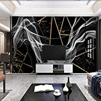 Ljjlm カスタムの大きな壁画モダンな抽象的な雰囲気のラインライトラグジュアリー幾何学的なブラックゴールド大理石の背景-120X100Cm