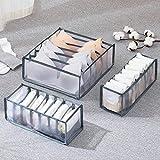 Nifogo Ropa Interior Organizador, Plegable Ropa Interior Organizador de Armario para almacenar Calcetines, Bufandas, Sujetador, 4 Unidades (Gris 3PC)
