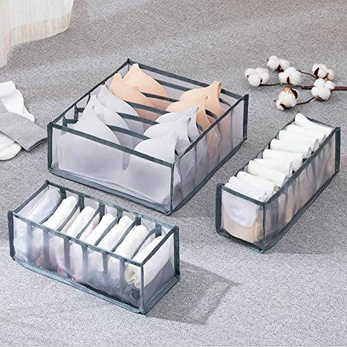 Nifogo Underwear Bra Organizer for Small Drawers Divider 3 Set,Sock Organizer for Closet,Foldable Drawer Organizers for Bras,Storage Box Underwear for Women/Kids/Men/Girls/Baby (Grey net)