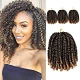 Ombre Spring Twist Hair Crochet Braids 8 Inch Spring Curl Crochet Braiding Hair Extensions 3 Packs Fluffy Synthetic Braid Bomb Twist Crochet Braid Hair Extensions T1B/27# (Black to Strawberry Blonde)