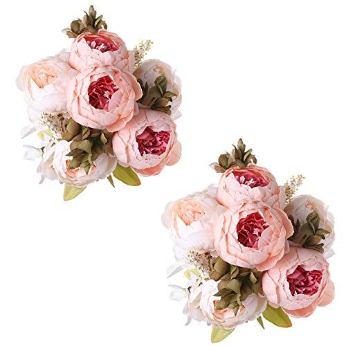 Tifuly 2 mazzi di peonie Artificiali, Bouquet di Fiori Vintage di peonie di Seta realistiche per la Decorazione Domestica del Partito dell'ufficio di Nozze, composizioni Floreali(Rosa Chiaro)