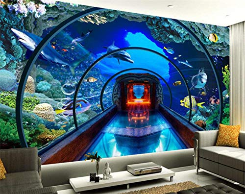 BHGJP 3D Wallpaper Selbstklebendes Wandbild (B)400×(H)280Cm Unterwasserwelt Aquarium Club Gym Tooling Wanddekoration Malerei Schlafzimmer Junge Tapete Kinderzimmer Cartoon Tapete