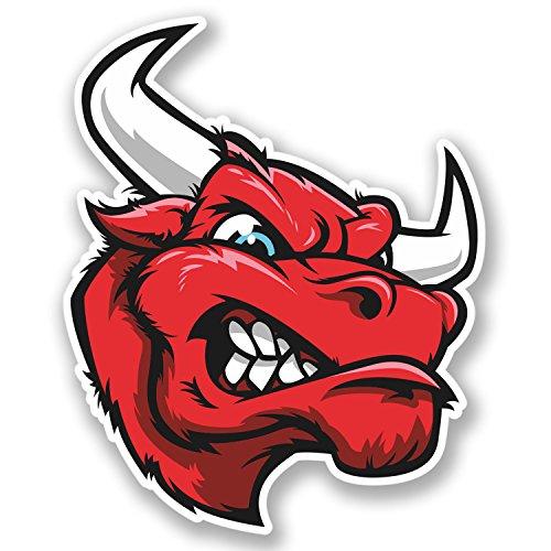 Lot de 2 autocollants Red Mad Bull pour voiture, vélo, iPad, casque d'ordinateur portable, mascotte espagnole #4236 (8,2 cm de large x 10 cm de haut)